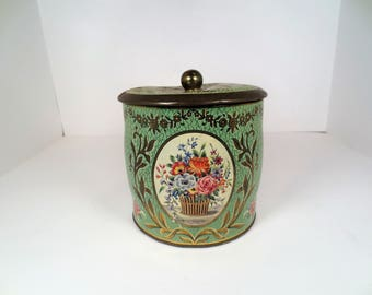 Vintage Tin Canister Decorated with Roses, Made in England, Storage Container, Shabby Chic Kitchen Decor