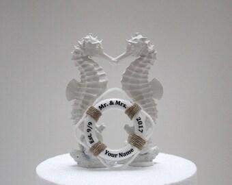 Seahorse Wedding Cake Topper, White Wedding Cake Topper, Beach Wedding Cake, Seahorse Bride Groom,Mr and Mrs Cake Topper,Destination Wedding