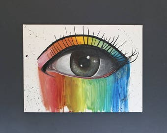 Eye Art Rainbow Canvas Eye Wall Art Rainbow Refraction Acrylic Canvas Original Wall art Eye rainbowJasmine Terri