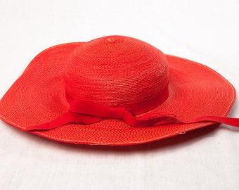 Vintage 1960's Women's Henri Bendel Red Rafita Straw Wide Brim Hat Red Ribbon Bow Neck Strap