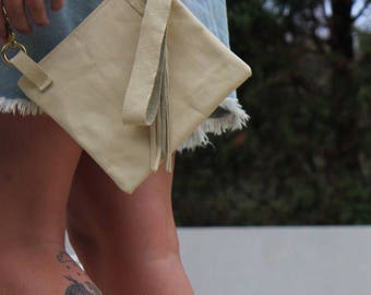 Ivory recycled clutch bag