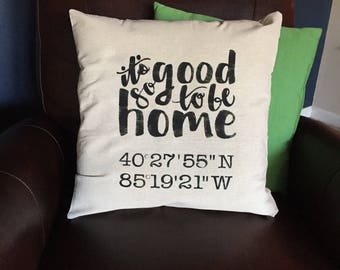 Longitude and latitude pillow, house warming gift, personalized pillow, farmhouse pillow