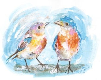 FREE CARD -Valentines Day Gift Package, Valentines Day Painting, bluebirds, Giclee Print, Watercolour, coloured pencil, artwork