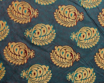 Half Yard of Ocean Blue and Golden Floral Brocade Silk Fabric by the yard