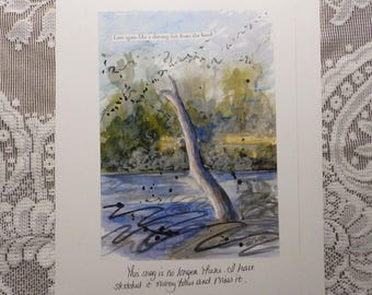 Tree Art, snag, sketchbook page, artist notes, Kitty Hawk, Outer Banks art, gift for naturalist