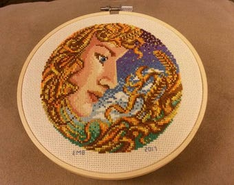 Virgo Completed Cross Stitch