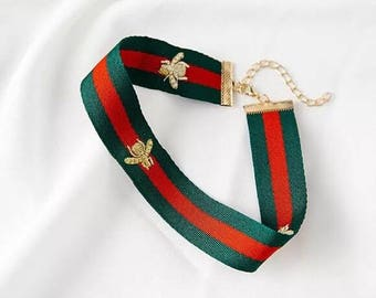 GUCCI style choker necklace fashion 2017 green red gold striped