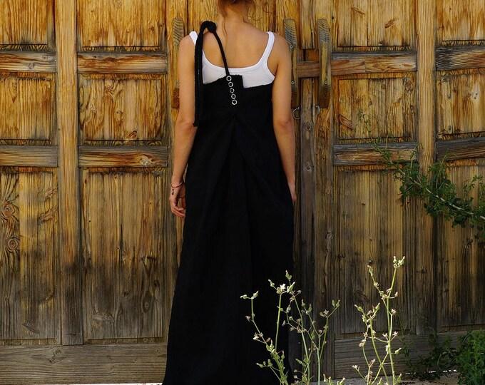 Abaya Maxi Pinafore Dress, Black Lagenlook Dress, Extra Long Asymmetric Pinafore Dress, Caftan, Kaftan Pinafore Dress, Oversized Dress