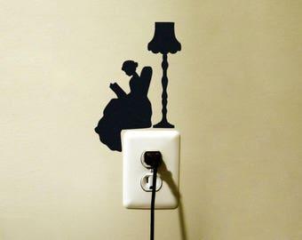 Reading Lady Lamp Decal Sticker Light Switch Kids Room Decor