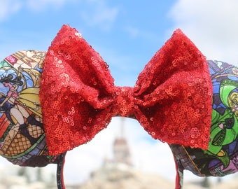 Stained Glass Beauty and the Beast ears