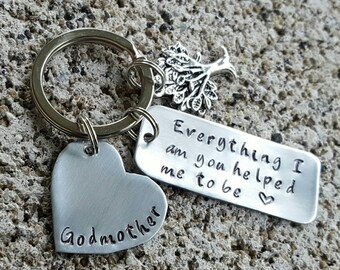 Everything I am, you helped me, to be, godmother, godmother gift, gift for godmother,  keychain, godmother keychain, family tree