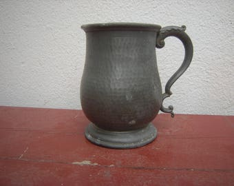 1936 Abbey Hand hammered pewter tankard.
