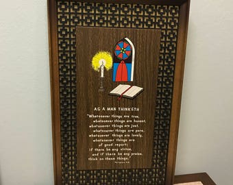 Mid Century Religious - As A Man Thinketh - Wooden Framed Verse Picture by Dickson's