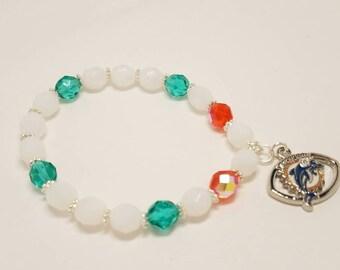 NFL team bracelet-Miami Dolphins NFL bracelet-Dolphins bracelet-beaded bracelet-womans bracelet-NFL bracelet-white and turquoise bracelet