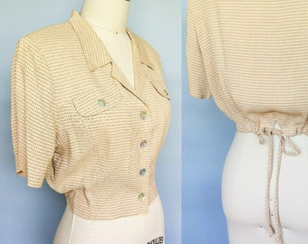 checkmate / 80s does 40s cropped gingham button up blouse / 12 14 large