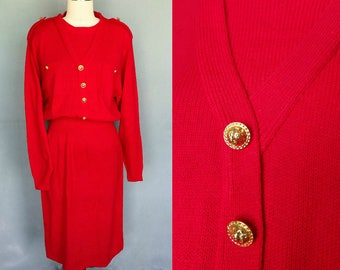 fire engine / red sweater dress with gold buttons / 12 14 large