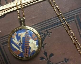 Vintage antique pressed flower pendant necklace