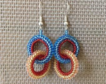 Beaded Chain Hoop Earrings in Blue, Red, Gold, and Peach; Seed Bead Hoop Earrings; Lightweight Dangle Hoop Earrings; Multicolor Earrings