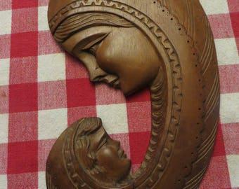 Hand carved mother daughter plaque vintage