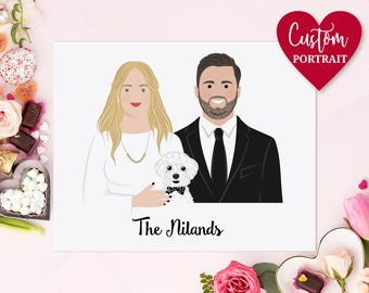 Anniversary gift for best friend. Valentine's day gift. 1st anniversary. Personalized gift for couple. Custom portrait, drawing portrait.