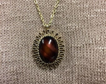 Red Tigers Eye Pendant, Gold Pendant Necklace, Stone Jewelry