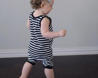 Striped romper - baby romper - toddler romper - tank romper - summer romper