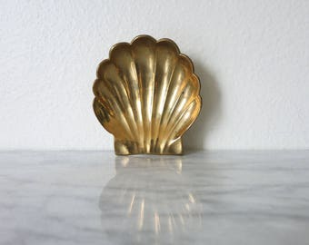 Vintage Brass Small Desk Tray, Desk Accessory, Ring Dish, Jewelry Dish Holder, Ashtray, Bedside Table Tray, Vanity Trays, Shell, Nautical