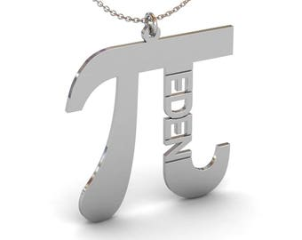 Custom Pi Necklace, Vertical Name Necklace, Pi Symbol Necklace, Silver Name Necklace, Math Necklace, Math Gifts, Pi Jewelry, Graduation Gift