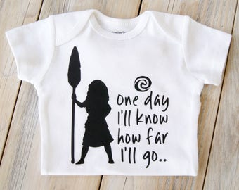 Moana-One Day I'll Know How Far I'll Go-Disney-Baby Girl Onesie-Custom Onesie-Baby Girl Clothing-Moana-Maui-Toddler