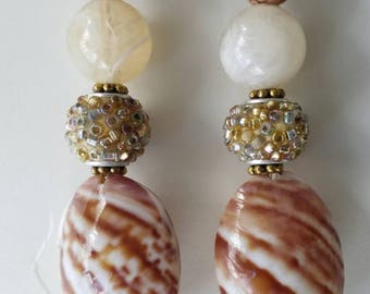 Brown/Marble White/ Stripe Earrings