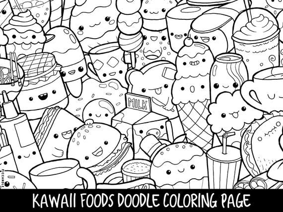 kawaii fruit coloring pages | Foods Doodle Coloring Page Printable Cute/Kawaii Coloring