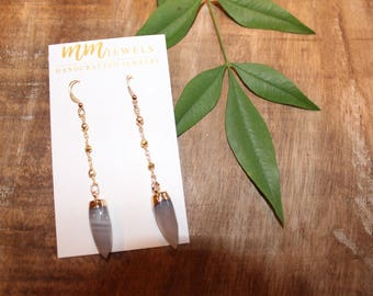 Agate Arrow and Gold Rosary Chain Earrings