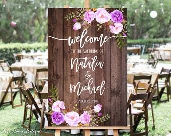 Welcome Wedding Sign, Rustic Welcome Wedding Sign, Welcome To Our Wedding Sign, Wood and Purple Flowers, Printable Sign, Digital File, W94