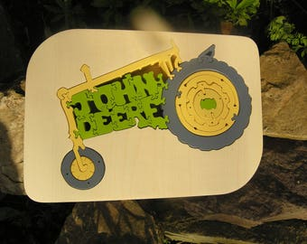 WOOD, painted solid wood personalized tractor PUZZLE has tastes