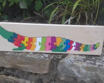 Wooden puzzle, surprising alligator multicolor wooden 27 pieces