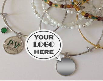 CUSTOM LOGO JEWELRY, Your Text Here, Your Logo, Personalized, School Mascot, Company Logo, Stainless, Cheer, Sorority, Dance, Fundraiser