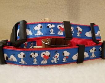 Snoopy Handmade Dog Collar 1 Inch Wide Large & Medium