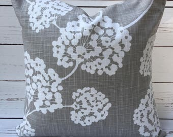 Grey Floral 14x14 Pillow Cover