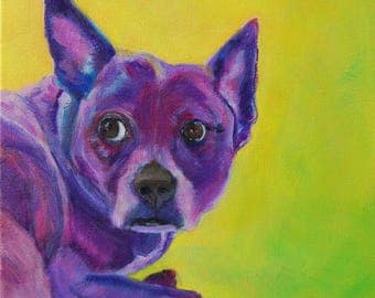 Only Have Eyes for You.  Purple Puppy Original Dog Painting Rescue Dog Art Original Acrylic Painting Yellow Green 12x12