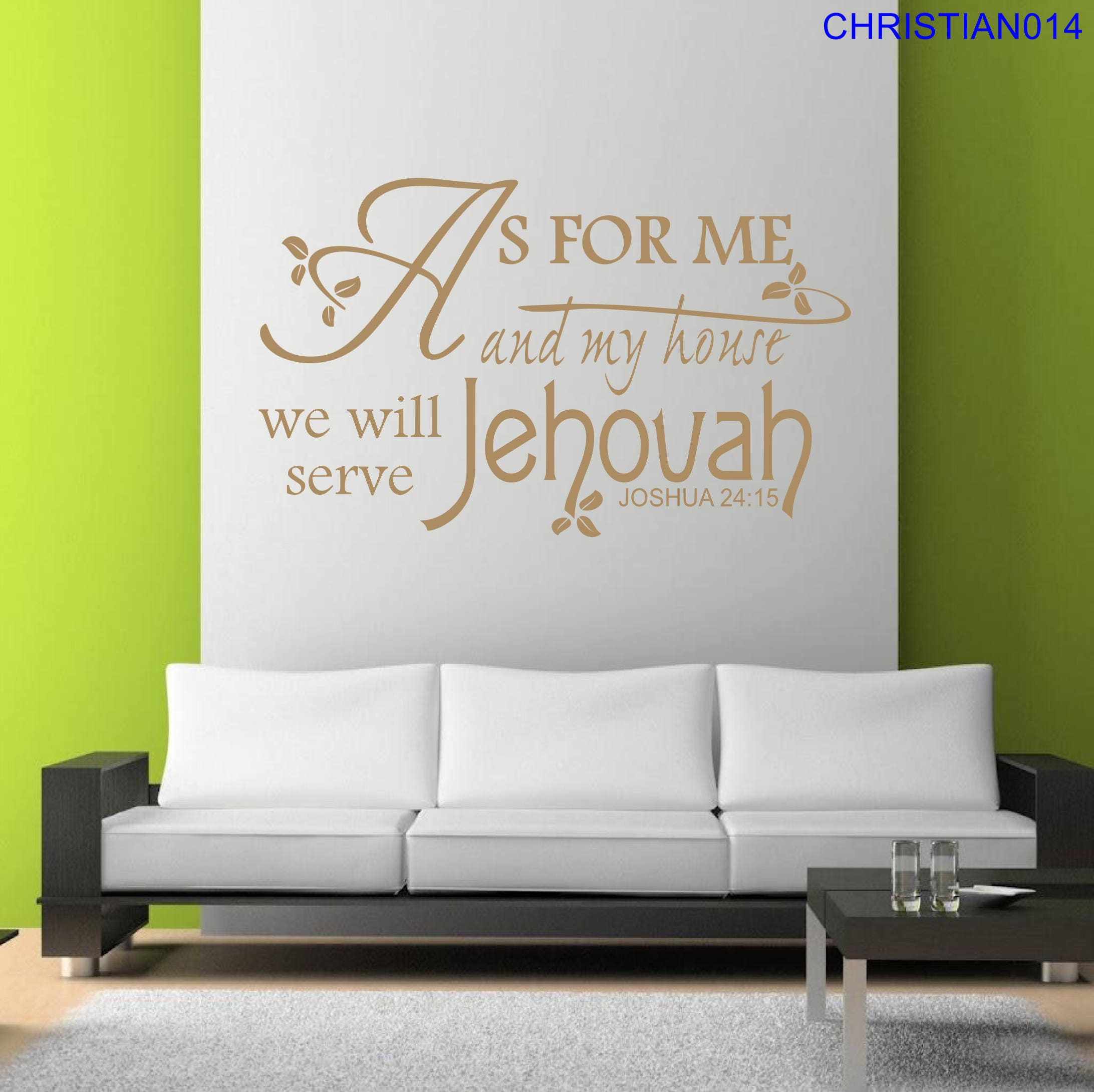 As For Me And My House We Will Serve Jehovah Joshua 24:15 Vinyl Wall