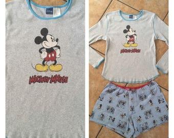 1990's Disney Mickey Mouse Pajama Shorts & Top Set (XL) • Vintage Mickey Mouse Two-Piece Pajama Set
