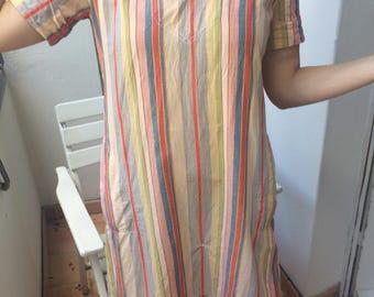 beautiful beach dress seersucker, cotton made in the 90s