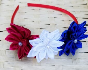 Flower Headband - Patriotic Headband - 4th of July Headband - Red, White and Blue Headband - Girls Patriotic Headband - Headband