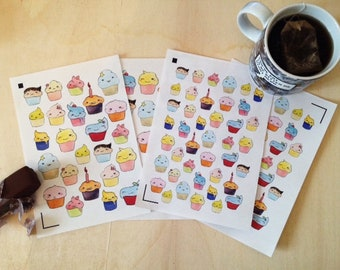 Stickers Cup Cake Kawaii