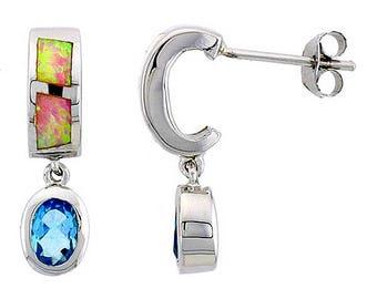 Sterling Silver Pink Opal Dangle Stud Earrings Blue Topaz