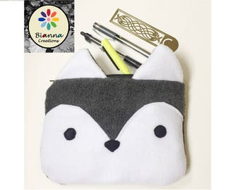"""9x6"""""""" Kawaii Wolf Face Pouch, Japanese Anime Lover Animal Pencil Case, MakeUp Cosmetic Bag, Kids Travel Buddy, 3DS Case, Pen Pencil Storage"""