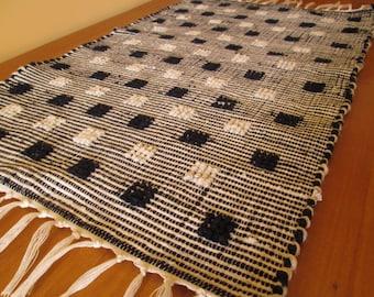 Handmade woven table runner | Blue and white table runner | Home decor | Kitchen decor |