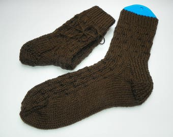 Knit socks Knitted socks Hand knitted socks Wool socks Leg Warmers Winter socks Warm socks Woolen socks socks Gift Brown color Handmade