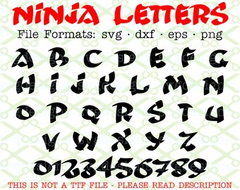 NINJA Monogram Svg Letters & Numbers, Svg Dxf Eps, Png.  Ninja Capital Letters, Bold Block Letters, Karate SVG, Cricut Silhouette; Cut Files