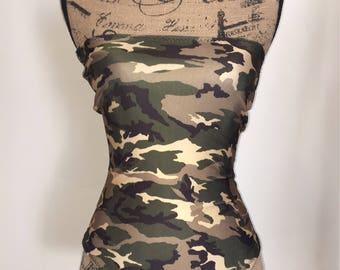 Camoflage Tube Strapless Onesie Bikini